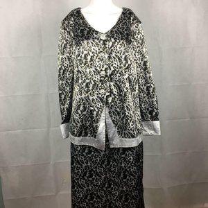 Roaman's Gray Leopard Formal Skirt Suit Sz 14W